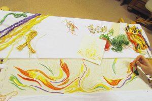 Impressionen aus den Werkstätten - Nonnen- oder Klosterstich Handstickerei